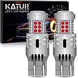 KATUR 7443 T20 992 W21/5W Bombillas LED Superbrillantes 12pcs 3030 y 8pcs 3020 Chips Canbus Error Señal de Giro Libre Freno Trasero Cola de estacionamiento Luces,Rojo Brillante(Paquete de 2)