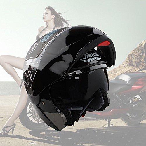 GOTOTOP Lente Dual Flip Up Casco Delantero de La Motocicleta (L, Negro Brillante)