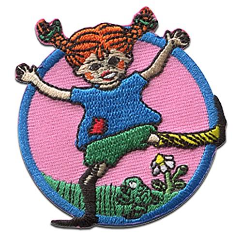 Pippi Langstrumpf © tanzt Blume- Aufnäher, Bügelbild, Aufbügler, Applikationen, Patches, Flicken, zum aufbügeln, Größe: 6 x 6,2 cm
