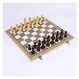 JKFZD Ajedrez 3 en 1 Conjunto de ajedrez Internacional de Madera Plegable Juego Divertido Juego Backgammon Checkers Toys Home Entertainment (Size : 34x34cm)