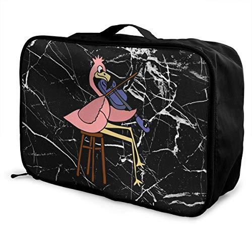 Bolsa de Viaje portátil Grande con diseño de Flamenco Rosa para Jugar a violín