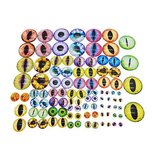 Julie Wang Cabochons aus Glas in sortierten Größen, rund, zur Puppenherstellung und Schmuck, Drachenauge, 90 Stück