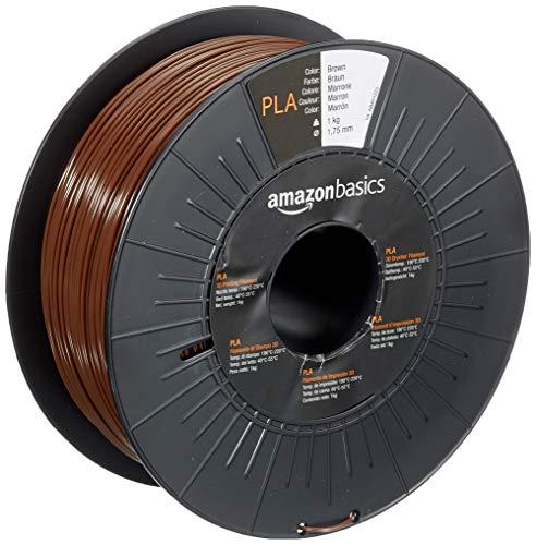 Amazon Basics - Filamento para impresora 3D, ácido poliláctico (PLA), 1.75 mm, cinta de 1 kg, marrón