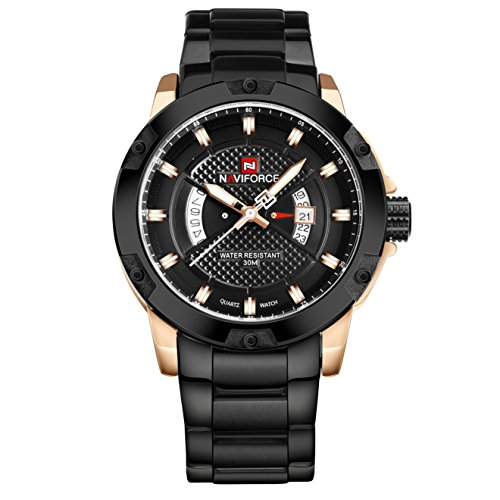 NAVIFORCE Watch Men Stainless Steel Waterproof Analog Japanese Quartz Movement Date