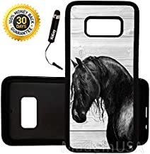 Custom Galaxy S8 Case (Black Horse on Wood) Edge-to-Edge Rubber Black Cover Ultra Slim | Lightweight | by Innosub