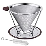 Pour Over Coffee Dripper, Stainless Steel Coffee Filter Removable Dripper With Stand, Reusable Cone...