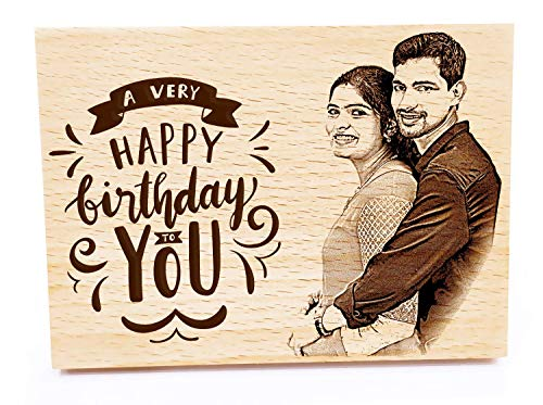 Incredible Gifts India Birthday Gift for Girls   Men   Women   Husband   Wife   Brother   Sister - Personalized Engraved Photo Frame (5 X 4 inches, Wood, Beige)