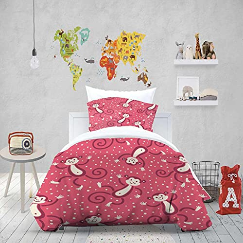 XOYKX Bedding Set Single Size 135X200Cm Red Cartoon Monkey 3 Piece Quilt Bed Cover Duvet Cover Set With 2 Pillowcase Super Soft Breathable Microfiber Hypoallergenic Warm Quilt Cover Sets