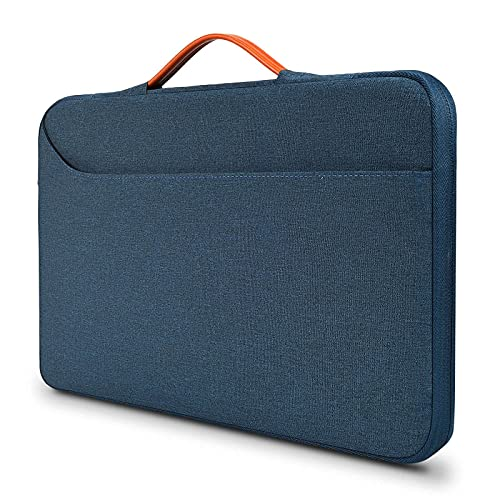 14-15.4 inch Laptop Briefcase Water Resistant Computer Carrying Case for DELL XPS 15 9500 7590, DELL Inspiron 14 5000 7000 14', 14-15' HP Lenov Acer Chromebook Notebook Bag, Navy Blue