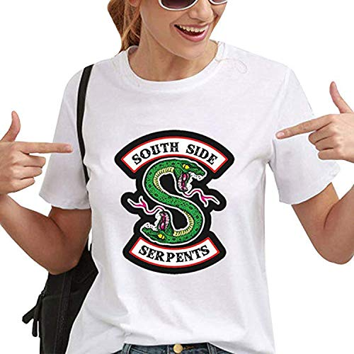 Yesgirl Riverdale Southside Serpents Camisetas Mujeres Niñas Moda Verano Deporte Tops Elegantes Casual Camisa Mujer Manga Corta Suéteres Suaves Y Cómodos C Blanco B Small