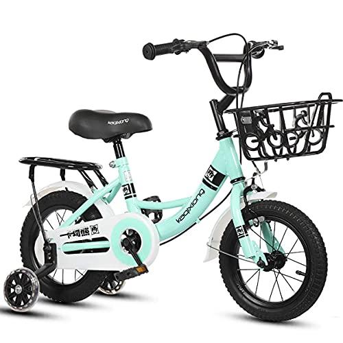 XBSXP Premium Safety Sport Bicicleta para niños con Caballete Lateral y Accesorios para niños de 2 a 11 años 12/14/16/18/20 Pulgadas Edición Cruiser para niños y niñas, F, 16 Pulgadas