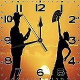 SanJIUCOM Reloj de Pared español Flamenco Pareja Bailarina Guitarrista Siluetas al Atardecer Paisaje Dormitorio Sala de Estar Cocina decoración del hogar Reloj 10 Pulgadas