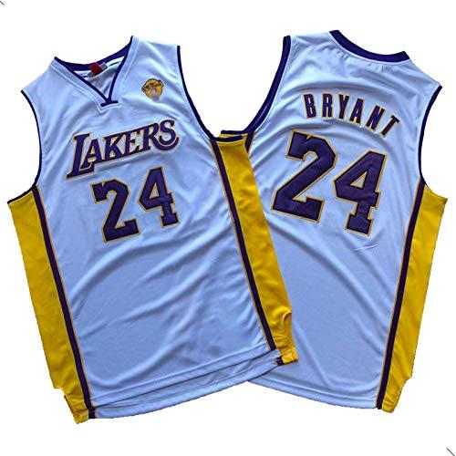 CLKJ Lakers Kobe Bryant No. 8 y No. 24 Championship Logo Series Jerseys, Camiseta Transpirable de Secado rápido al Aire Libre de los Hombres # 24 White-XL