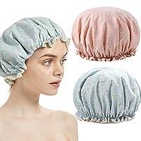 TooCoo シャワー キャップ、二重防水層 女性 風呂 シャワー 帽子、ファッショナブル EVA 入浴 シャワー キャップ 2パック(花)