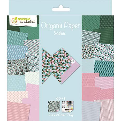Avenue Mandarine OR511C – Un Paquete de 60 Hojas Origami 20 x 20 cm, 70 g (30 diseños x 2 Hojas) y una Tabla de Pegatinas Incluidas, Scalales