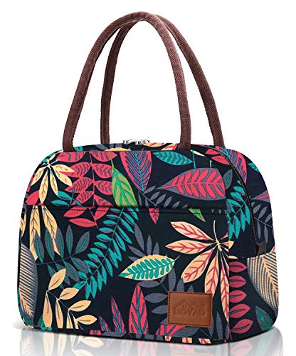 Lunch Bags for Women Lunch Box Reusable Insulated Cooler Womens Lunch Tote Handbag for Work Office Picnic Travel Boho Leaves Large 10L Moyad
