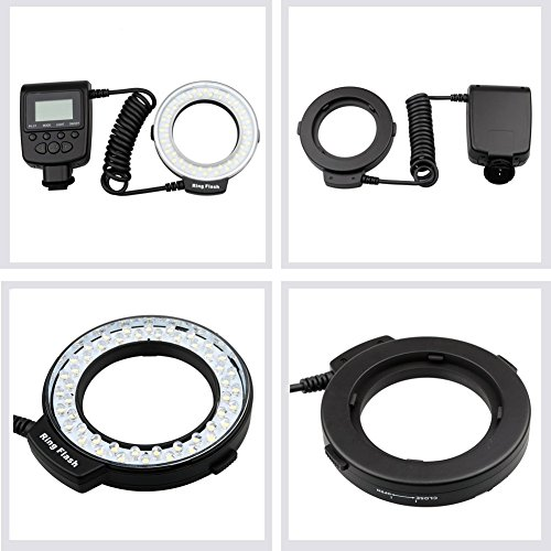 Lightdow 48 Pieces Macro LED Ring Flash Light with LCD Screen Display for Canon Nikon Sony DSLR Cameras