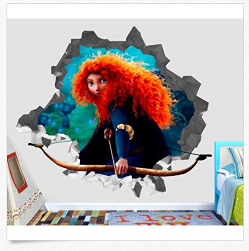 Wandtattoo Merida Disney Prinzessin Wandtattoo zerschlagen 3D Aufkleber dekorative Vinyl Kinder mutig