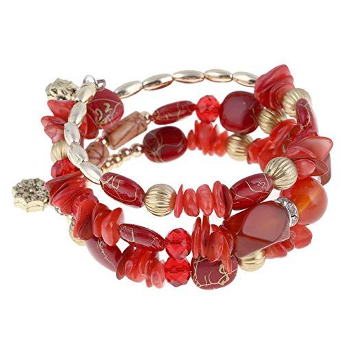 GHIUHK Armband Künstliche Korallen Perlen Kristall Charms Armbänder Für FrauenMehrschichtige Armbänder & Armreifen