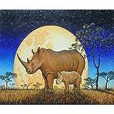Kit de pintura de diamantes 5D,Rinoceronte animal prado luna azul Taladro redondo punto de cruz, bordado, artesanía para adultos, niños, para decoración del hogar