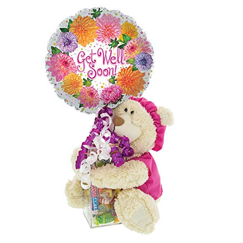 Get Well Soon Gift with Teddy Bear in Pink Scrubs   Post-Surgery or Hospital Gift with Kosher Candy and Balloon   Cheer Up a Friend or Loved One with this Gift