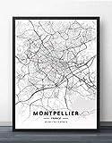 Leinwand Bild,Frankreich Montpellier Stadtplan Einfache