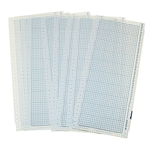 Punch Card Set - 10 sheet 24 Stitch Punch Card and 2 Plastic Clips for Knitting Machines Punch Cards DIY Hand Crafts Accessory