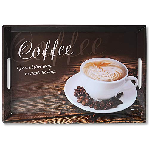 Kesper Serviertablett, 77397, Motiv: Coffee, Maße: 50 x 35 x 4,5 cm, Melamin