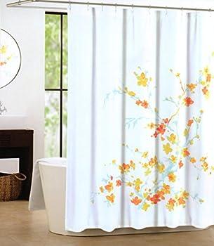Tahari Luxury Cotton Blend Shower Curtain Printemps Orange Yellow Aqua Turquoise Floral Branches  Orange