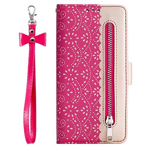 Lomogo [Huawei P30 Pro Hülle Leder, Schutzhülle Brieftasche mit Kartenfach Klappbar Magnetisch Stoßfest Handyhülle Case für Huawei P30Pro - LOHHA120293 Rosa Rot
