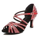 SWDZM Zapatos Baile Latinos Mujer/Zapatos de Baile Latino Mujer Salsa,Talón 2.95'' Modelo Rojo 35EU