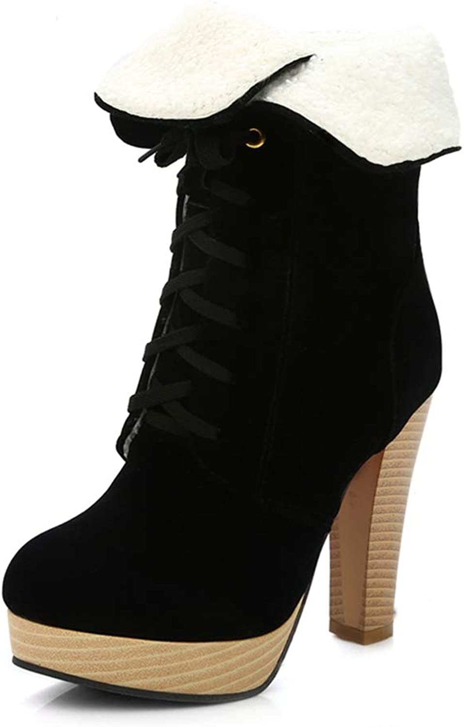 Women Sexy Thick Heel Mid Calf Boots Woman Pointed Toe Lace Up Martin Boot Brand Autumn Winter Heels shoes Size 34-45