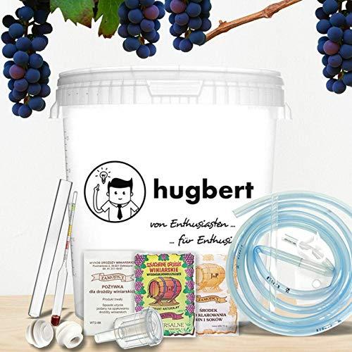 HUGBERT Weinset Nr 2, 30/33 L, Weinhefe, Gärbehälter mit Bohrung + Deckel mit Bohrung, Gärröhrchen, Dichtgummi, Vinometer + GRATIS