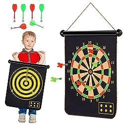 [Disco magnetico a doppio lato] Il bersaglio magnetico arrotolabile è un gioco per interni ed esterni, amato da bambini e adulti. Il bersaglio da 15 pollici con 6 freccette, 3 verde e 3 rosso è un bersaglio standard, mentre l'altro lato è un gioco di...