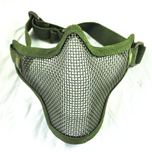 Kohlenstoffstahl Streik Stil Airsoft Mesh Maske Halbes Gesicht (Armee Gr?n)