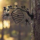 Luckxing Silueta De Jardín De Metal Escultura De Abeja s Y Colmena Estatua De Arte De Patio Adornos De Patio De Camino De Césped Interior Al Aire Libre
