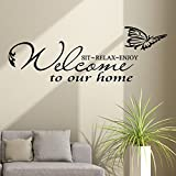 WOCACHI Wall Stickers Decals Welcome to Our Home Removable Art Vinyl Mural Home Room Decor Wall Stickers Art Mural Wallpaper Peel & Stick Removable Room Decoration Nursery Decor
