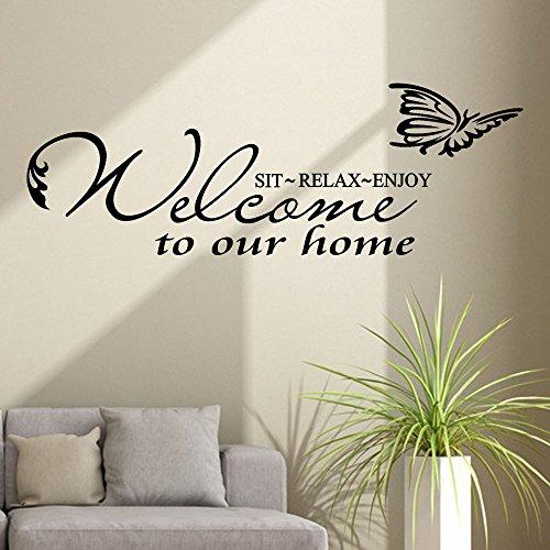 Tophappy Wall Stickers Frasi Famiglia in inglese'Welcome to our home' Removibile Impermeabile Adesivi Murali Adesivo da Parete per Salotto Famiglia Arte Murale Home Decor