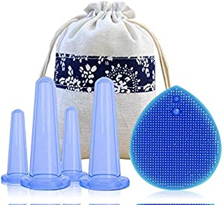 Meili Silicone Facial Cupping Therapy Set - Eye and Face Vacuum Massage Cup Kit. Anti-Wrinkle and Anti-Aging effect.