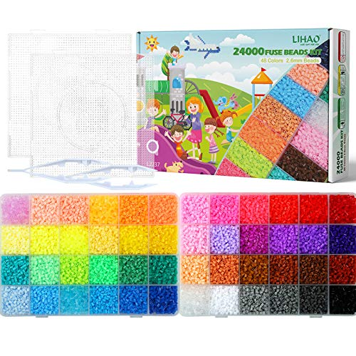 24000 x Fuse Beads Kit, LIHAO 48 Colors 2.6mm Mini Fuse Beading Kit, Multicolored Iron on Fused Beads Kit, Great Supplies for Fuse Beads Artist, Kid's Birthday Gift