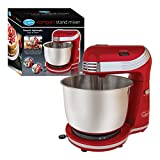 Quest Compact Stand Mixer   3 Litre   6 Speed   Stainless Steel Bowl   Dough Hook and Beater   250W (Red)
