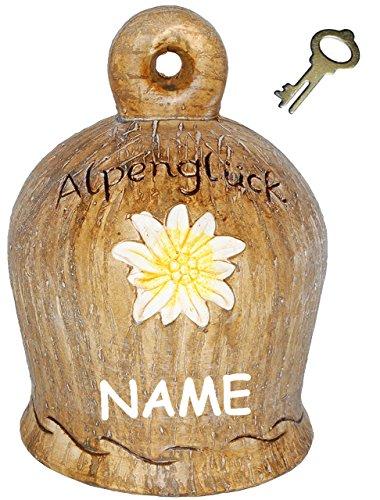 alles-meine.de GmbH XL große - 3-D Effekt - Spardose -  Glocke - Alpenglück  - incl. Name - mit Schlüssel und Schloss - stabile Sparbüchse aus Porzellan / Keramik - Sparschwein..