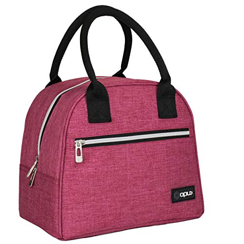 OPUX Lunch Bag for Women | Insulated Lunch Tote for Ladies, Girls, Female | Medium Reusable Soft Lunch Box Purse Cooler for School, Work, Office | Fits 12 Cans (Heather Pink)