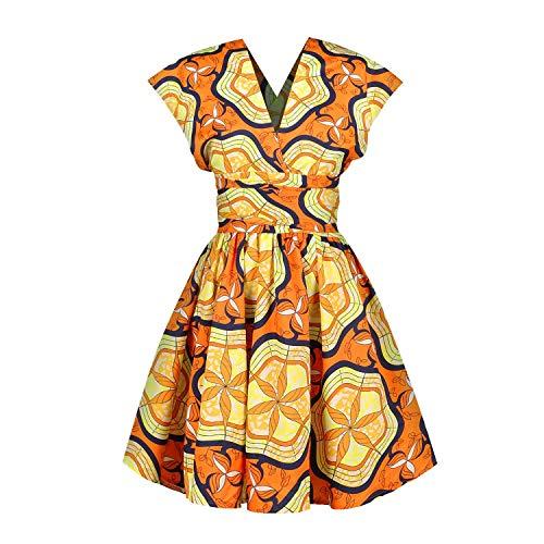 OBEEII - Vestido de mujer Boemo Africano Dashiki - Disfraz tradicional tnico elegante - Vestuario de ceremonia para boda, dama de honor o cctel Multicolore 009 M