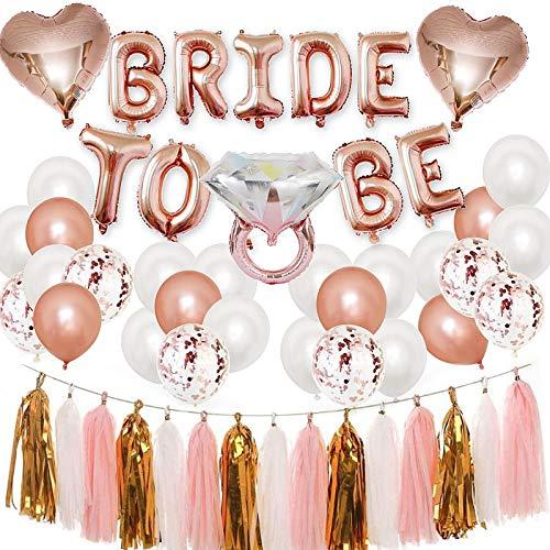 HALOVIE Decoración de Despedida de Soltera, Kit de Globos de Novia Globos de Oro Rosa, Corazón, Confeti, Anillo de Diamantes para Despedida de Soltero, Boda