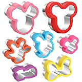 7pcs Mickey Mouse Cookie Cutter Set,Inclinding Head & glove & Shoes & Side Face & bowknot etc Cartoon Shapes Food Grade Stainless Steel Cookie Cutters for Kids Baking, Bento Box and Food Decoration