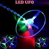 ANAGFEOL Jouet Funny Colorful Pull String UFO LED Light Up Flying Saucer Disc Kids Toy Personnalisé IdéE Cadeau