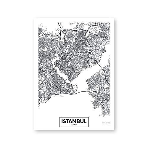 Modern StadtPoster Istanbul Karte Einfaches Leinwand Bilder Schwarzweiß Wandkunst Druck Bilder Wohnzimmer Schlafzimmer Wanddeko B2 50x70cm Kein Rahmen