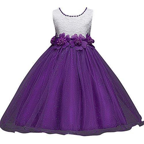 Qitun Prinzessin Lace Blumenmädchenkleider für Hochzeits Brautjungfern Karneval Party Weihnachten Festliches Kleid mit Sweet Blumen Lila 150CM/10Jahre