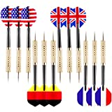 Ohuhu 12 Pcs Tip Darts with National Flag Flights (4 Styles) - Stainless Steel Needle Tip Dart with 3 Free PVC Dart Rods